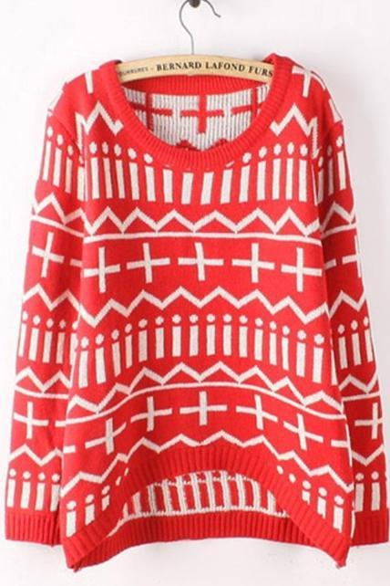 Winter Geometry Pattern Long Sleeve Pullover Sweater - Red