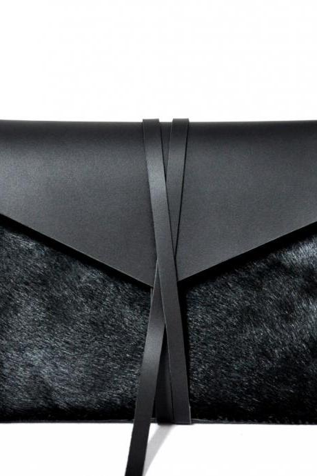 "Handmade Black Leather MacBook Air 13"" Case/Holster /Cover/Bag/ Envelope Bag"