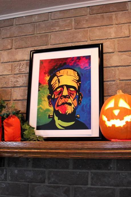 Frankenstein Print of Original Oil Painting Perfect for Halloween!