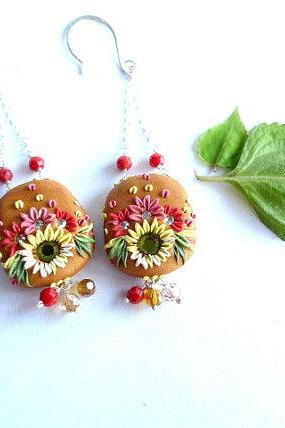 Polymer Clay Embroidery Applique Style Earrings with Coral and Swarovski Crystal Beads and Rhinestones Suspended by Sterling Silver