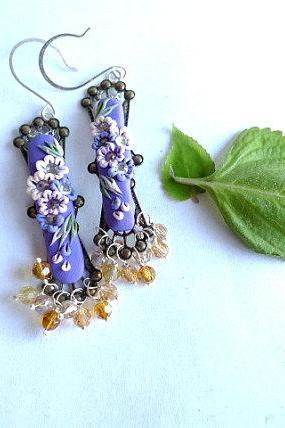 Polymer Clay Applique Embroidery Style Earrings with Sterling Silver and Swarovski Crystals