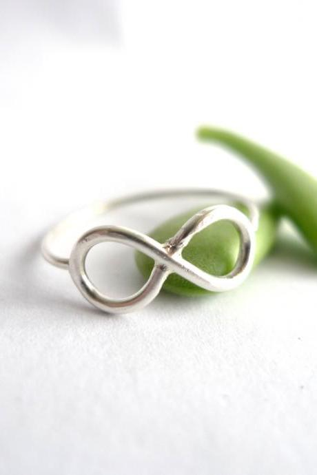 Sterling Silver Infinity Ring Made In Any Size Including Half and Quarter Sizes-Simple Sophisticated Edgy Jewelry