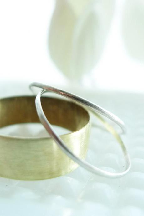 Set of 3 rings Argentium sterling silver and brass ring set made in any size