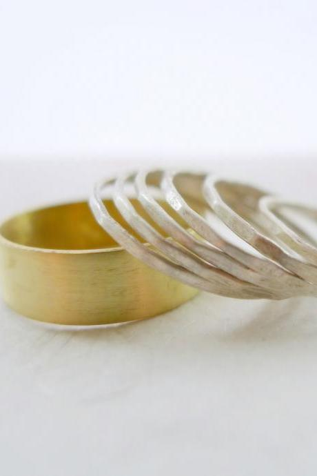 Six Plain Argentium Sterling Silver and Wide Band Brass Stacking Rings- Set of 7- Ever So Slightly Textured