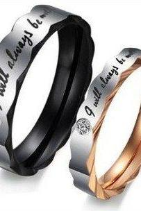 "His & Her Matching Couple Ring Band Set (avail sizes 5 thru 15) featuring ""I will always be with you"""