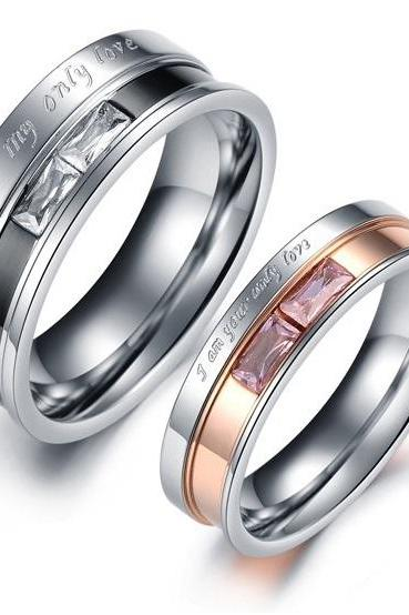 You Are My Love - Titanium Matching Couple Ring Band Set (avail sizes 5 thru 10)