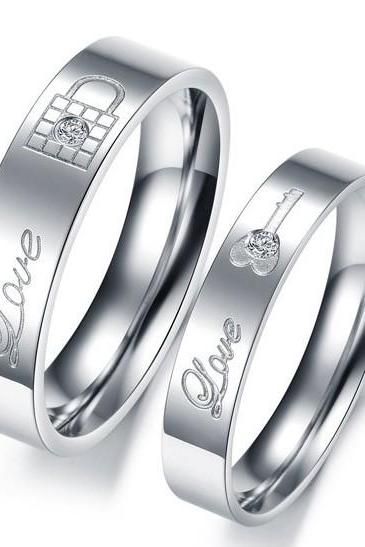 Key and Lock Promise Ring Band for Him & Her - Anniversary - Engagement - Wedding - Lover's Gift (sizes avail from 5, 6, 7, 8, 9, 10)