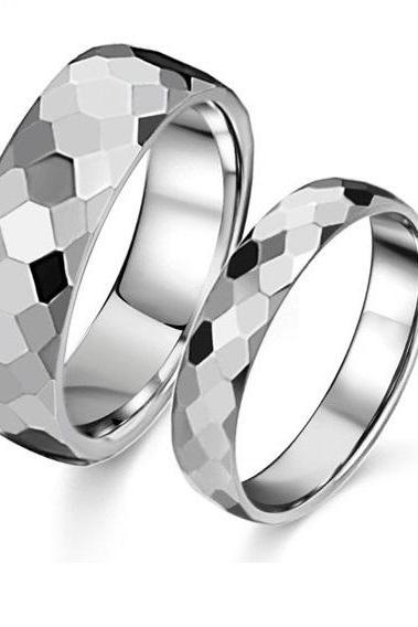Stainless Steel Diamond Cut Couple's Ring Set - Promise Ring Band (Sz 5 - 10)