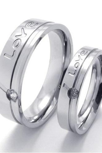 Love Stainless Steel Band for Him or Her - Promise Ring - Friendship Band - (available from sizes 5 - 10)