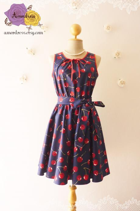 My Cherry Dress Navy with Red Cherry Tea Dress Vintage Inspired Dress Sleeveless Dress -Size XS,S,M,L,CUSTOM-