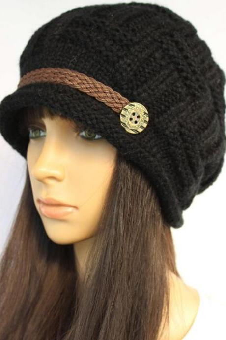 Black Slouchy knitted Hat Cap Beanie