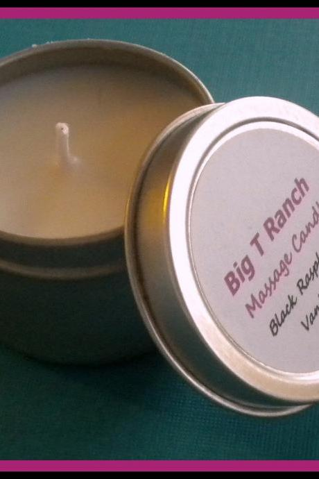 Candle - Mini Black Raspberry Vanilla Soy Massage Candle - 2 oz