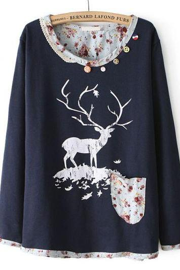 Navy Long Sleeve Lace Deer Floral Print Sweatshirt