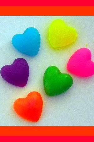 Soap - Puffy Hearts in Neon Colors - 12 Soaps - Weddings, Party Favors - Bridal Showers