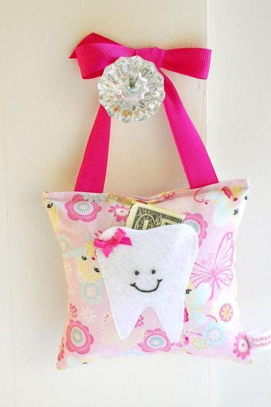 Girls Fairy Princess Tooth Fairy Pillow in Pink Sparkle Print Fabric