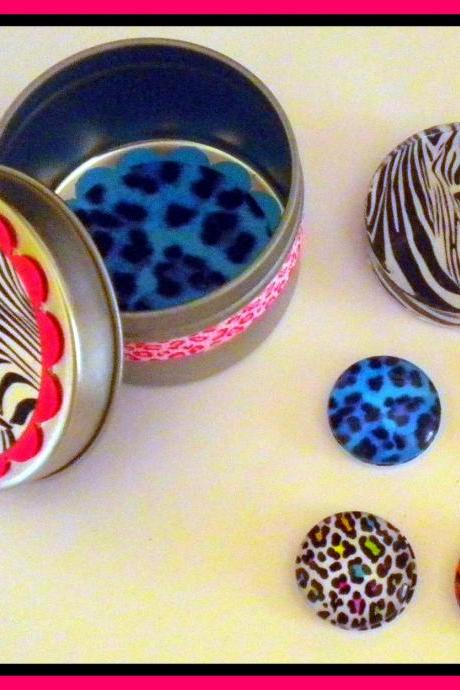 SALE - Magnets - Safari Magnets - Set in Gift Tin - 5 magnets - 20% OFF - Last One