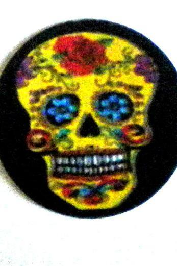 Magnets - Magnet Set of 3 - Sugar Skulls - 1 Inch Domed Glass Circles