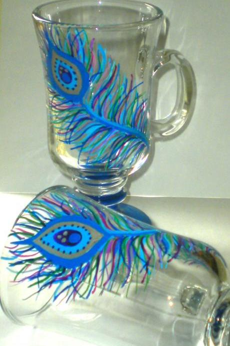 Irish Coffee Mug - Glass - Handpainted - Peacock - Feather - Peacock Feather - One-of-a-Kind