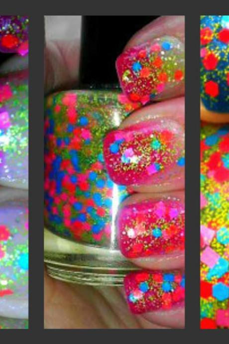 Neon Glitter Nail Polish Top Coat - FIESTA - Custom Blended Polish/Lacquer - 0.5 oz Full Sized Bottle