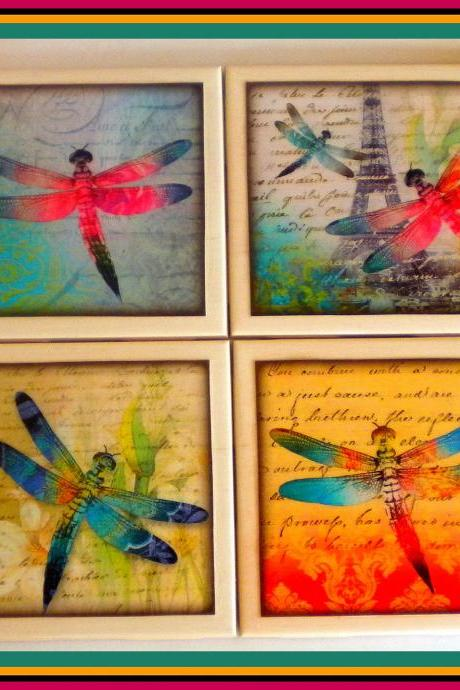 Coasters - Ceramic Tile - Set of 4 - Dragonflies - Dragonfly