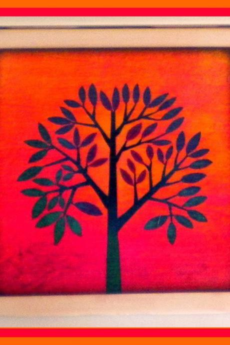 Coaster - Ceramic Tile - Tree - Pink - Orange