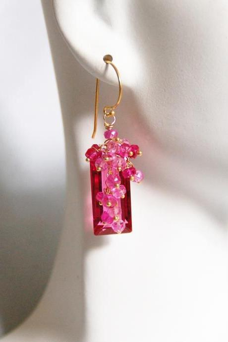 Gorgeous AAA Rubelite Quartz And Genuine Shaded Ruby Rondelles Cluster Dangle Drop Earring -Rubellite Earring-Wedding jewelry-Bridal