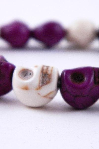 Purple and White Stretch Skully Bracelet