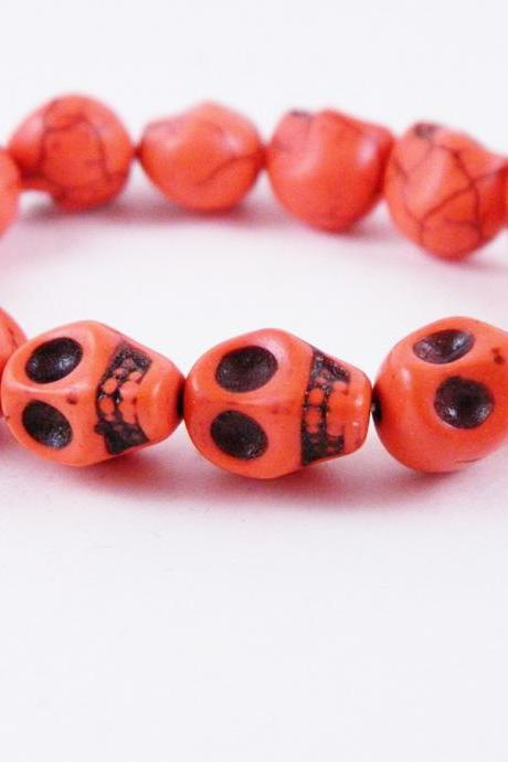 Orange Skull Stretch Bracelet Halloween Skull Bracelet