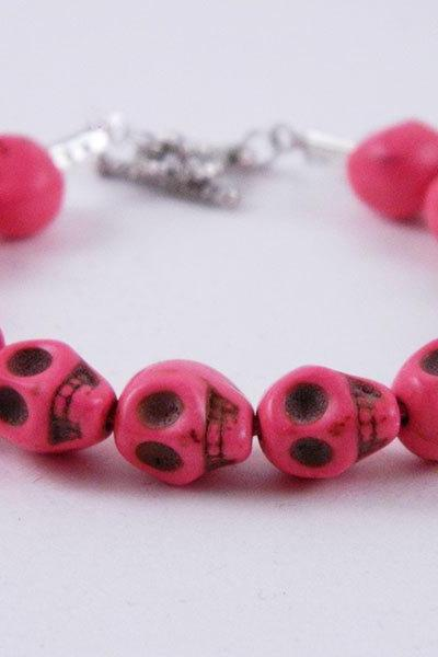 Hot Pink Skull Women's Toggle Bracelet