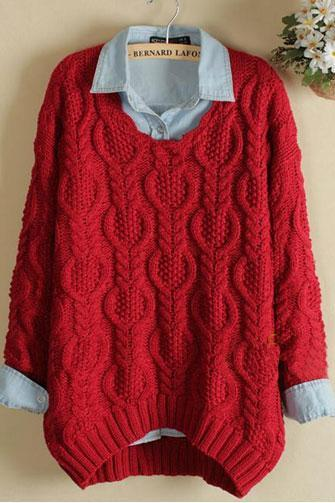 Fashion Red Twist Knitwear&Sweater