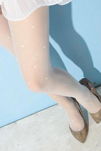 Fashion Heart Print Stockings For Women - White