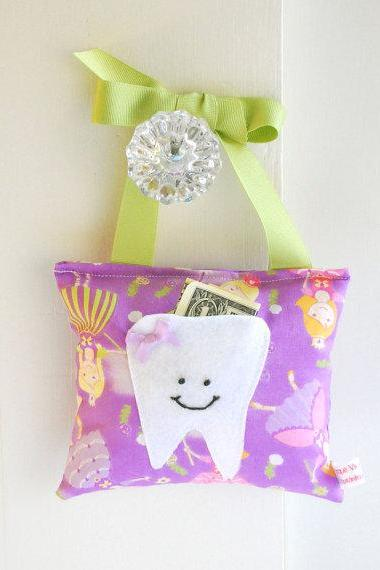 Purple Princess Tooth Fairy Pillow for Girls