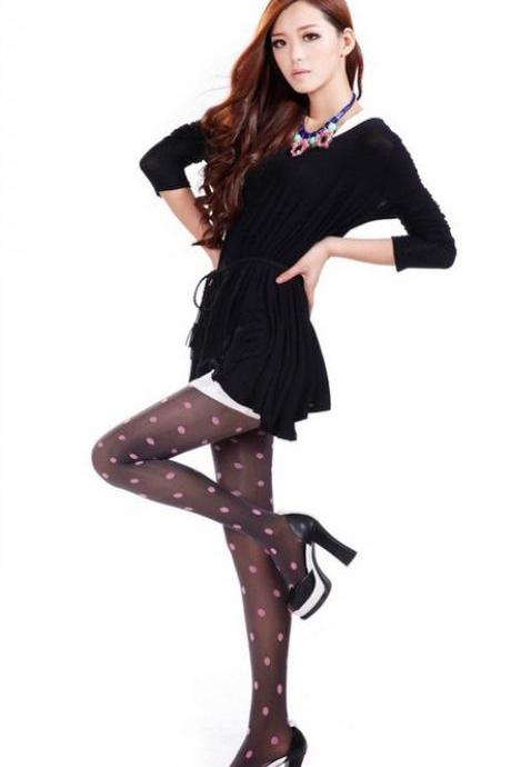 Lovely Polka Dot Stockings - Grey