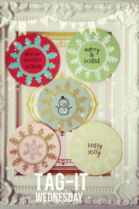 12pcs Round Christmas circle Tags