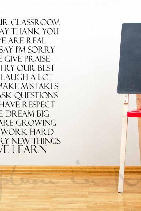 In Our Classroom School Wall Quote Vinyl Decal