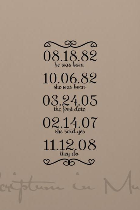 Love Story Personalized Dates Vinyl Decal