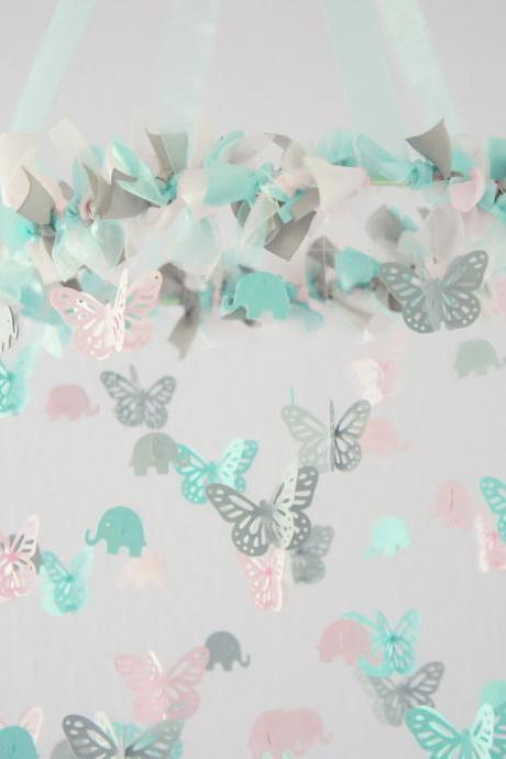 Aqua, Pink & Gray Nursery Decor- Elephants & Butterflies Baby Shower Gift
