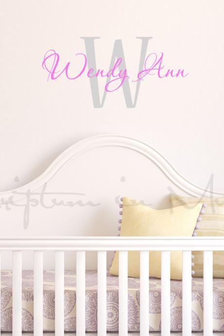 Nursery Monogram with Initial, Full First Name Vinyl Decal