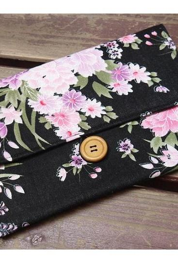 Apple Floral Fabric iPad Mini Black Sleeve