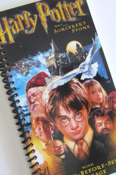 HARRY POTTER Notebook Journal upcycled spiral notebook Recyled Earth Friendly Made from an actual VHS movie cover Sorcerer's Stone