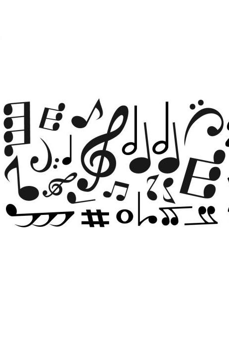 Large Set of 18 Music Notes - Vinyl Decal