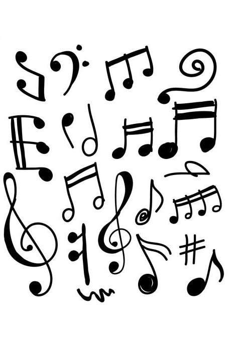 Set of 20 Funky Modern Music Notes - Vinyl Decal