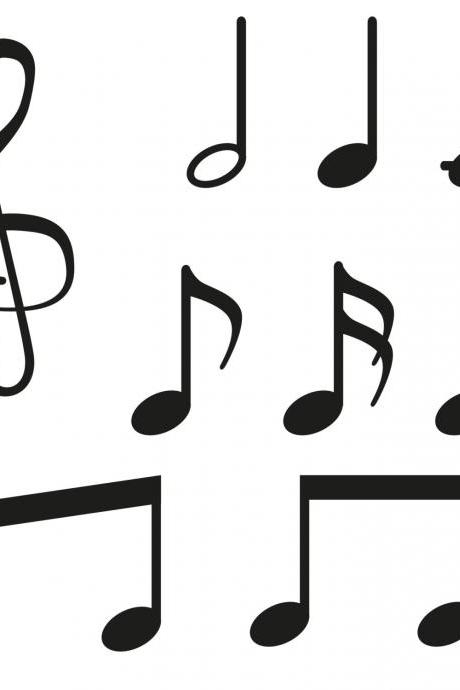 Set of 9 Music Notes - Vinyl Decal