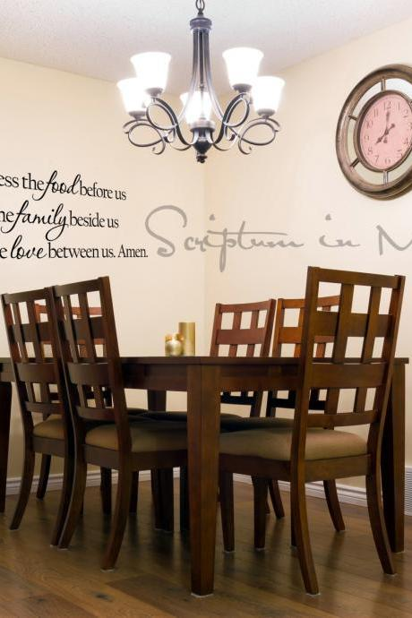 Bless the Food Before Us, the Family Beside Us, and the Love Between Us Dining Room or Kitchen Decal - Custom