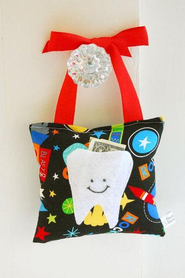 Spaceship Tooth Fairy Pillow for Boys