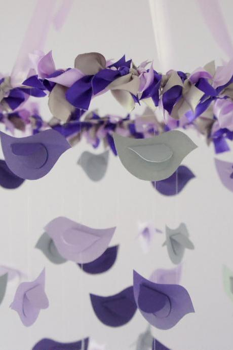 Modern Nursery Mobile- Birds in Purple, Lavender & Grey- Baby Shower Gift, Photographer Prop