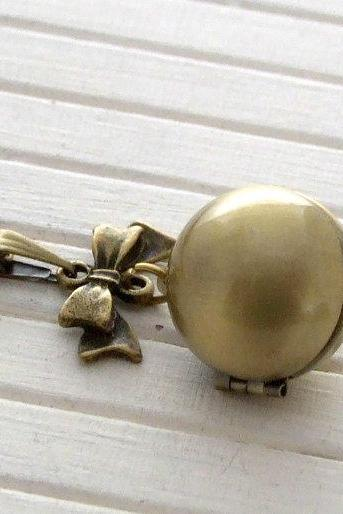 Vintage Brass Ball Locket with Bow