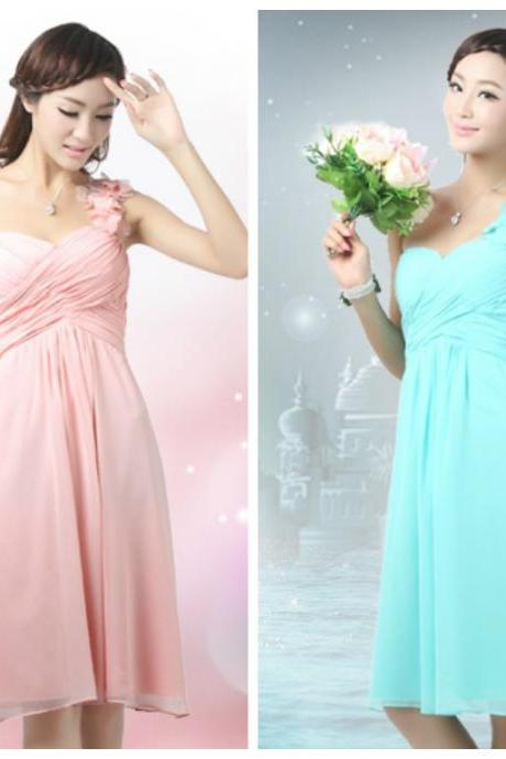 Custom Made Bridesmaid Dresses/ Gown - One Shoulder Short Dress - Plain Chiffon Dress - Custom Colors Available