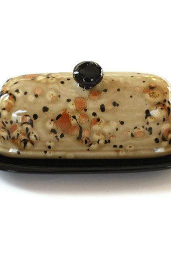 Butter Dish - Earth Tones Golden Brown