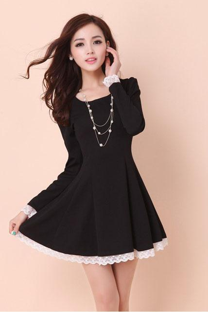 Lady A Line Long Sleeve Little Dress - Black